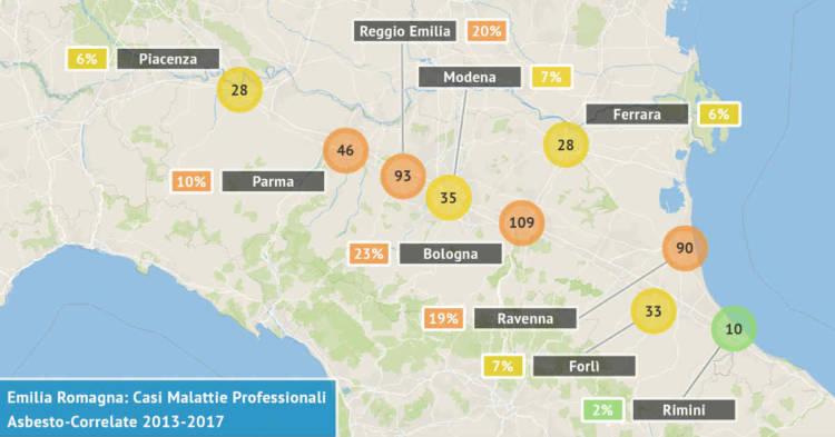 Mappa dell'Emilia Romagna con il numero di malattie professionali asbesto correlate accertate dal 2013 al 2017 visualizzate per provincia