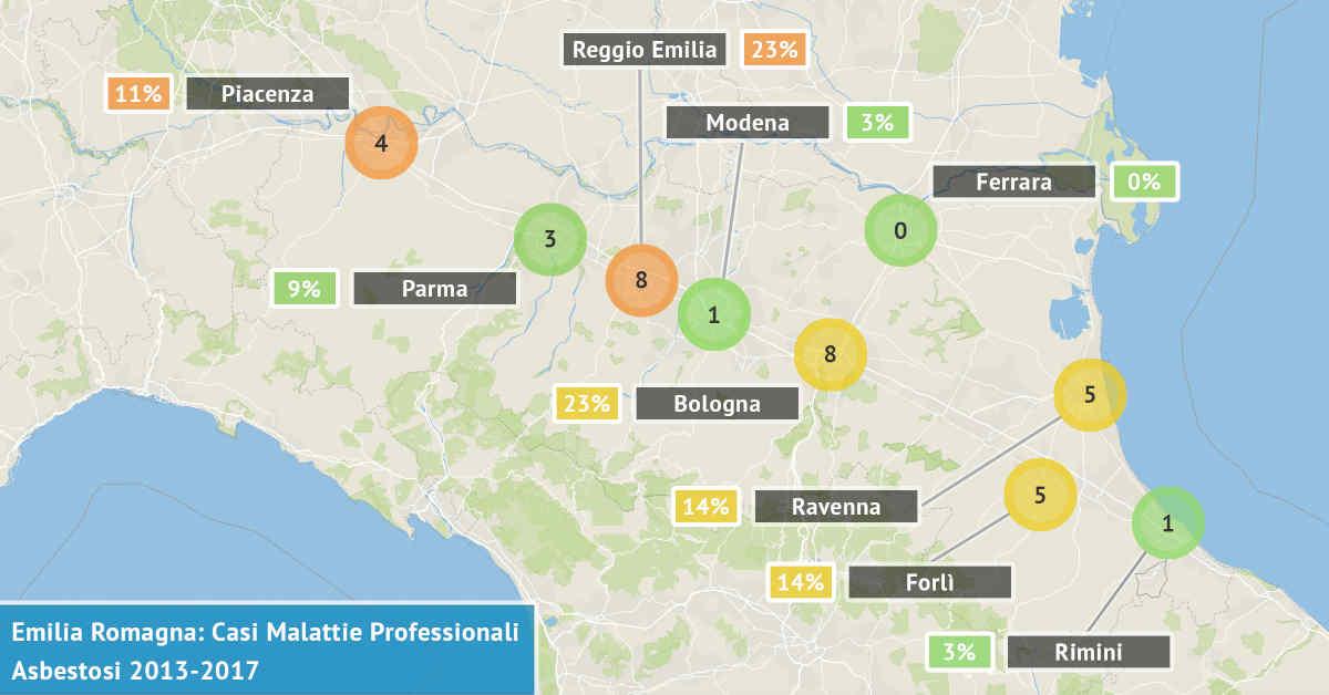 Mappa dell'Emilia Romagna con il numero di casi di asbestosi professionali denunciati dal 2013 al 2017 visualizzate per provincia