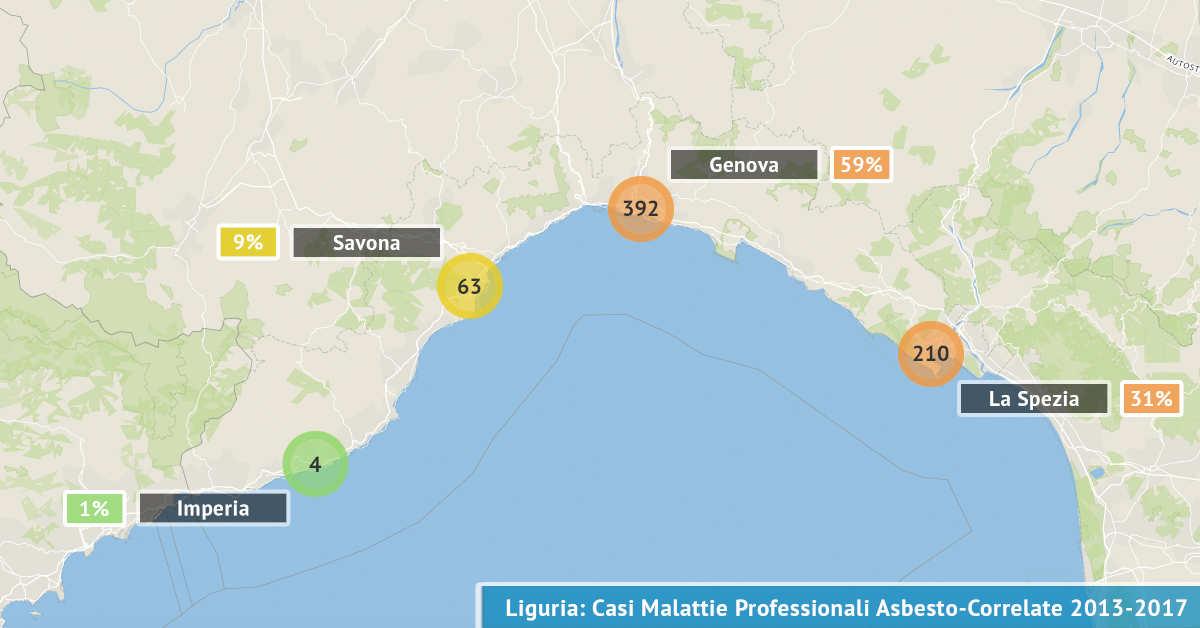 Mappa della Liguria con il numero di malattie professionali asbesto correlate accertate dal 2013 al 2017 visualizzate per provincia