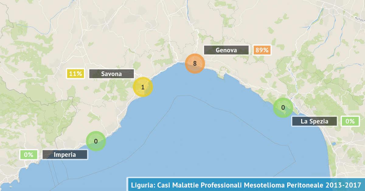 Mappa della Liguria con il numero di malattie professionali asbesto correlate denunciate dal 2013 al 2017 visualizzate per provincia