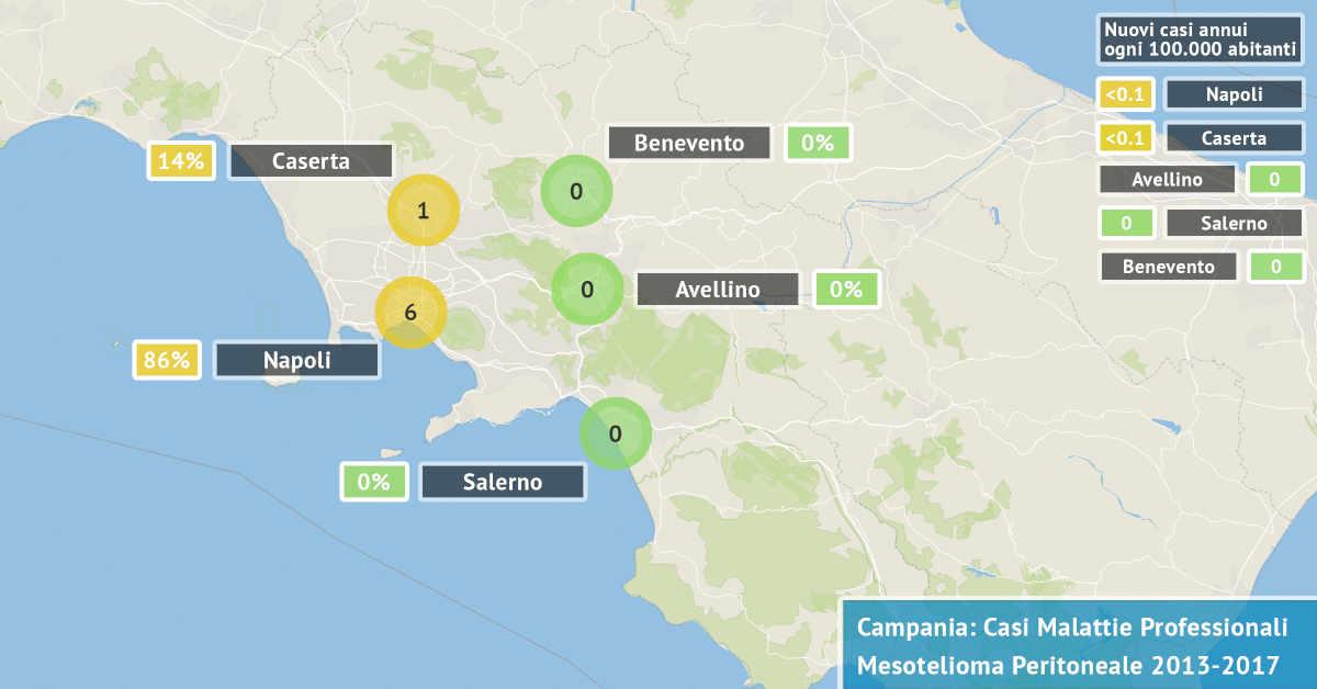 Mappa della Campania con il numero di casi di mesotelioma del peritoneo di origine professionale accertati dal 2013 al 2017 per provincia