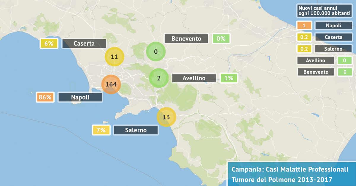 Mappa della Campania con il numero dei casi di tumore dei bronchi e del polmone di origine professionale accertati dal 2013 al 2017 per provincia
