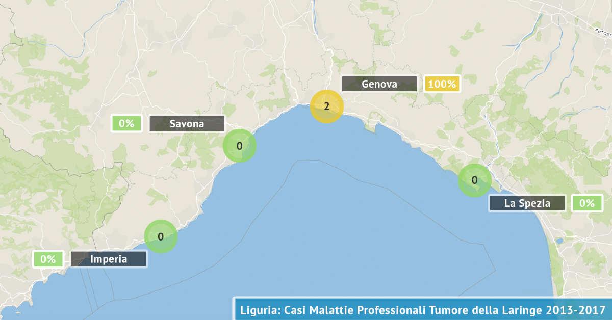 Mappa della Liguria con il numero di casi di tumore della laringe professionale dal 2013 al 2017 visualizzate per provincia