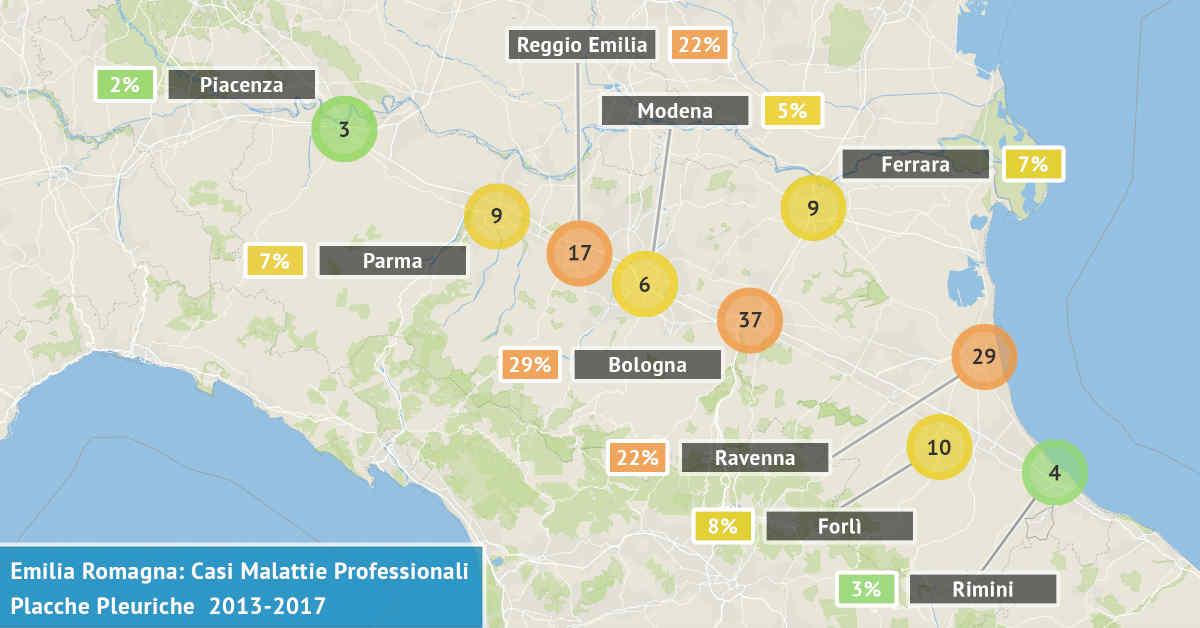 Mappa dell'Emilia Romagna con il numero di casi di placche pleuriche denunciati dal 2013 al 2017 distribuiti per provincia