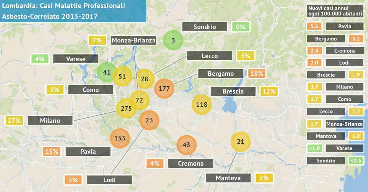Mappa della Lombardia con il numero di malattie professionali asbesto correlate accertate dal 2013 al 2017 per provincia