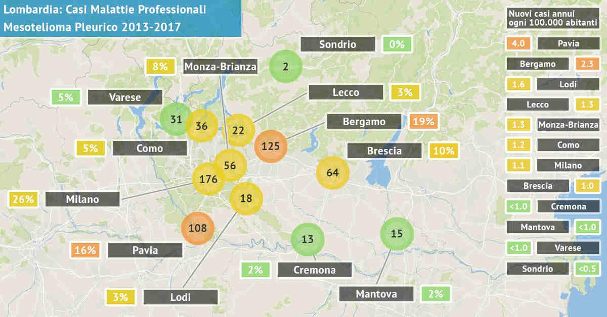 Mappa della Lombardia con il numero di di casi di mesotelioma pleurico asbesto correlati di origine professionale dal 2013 al 2017 per provincia