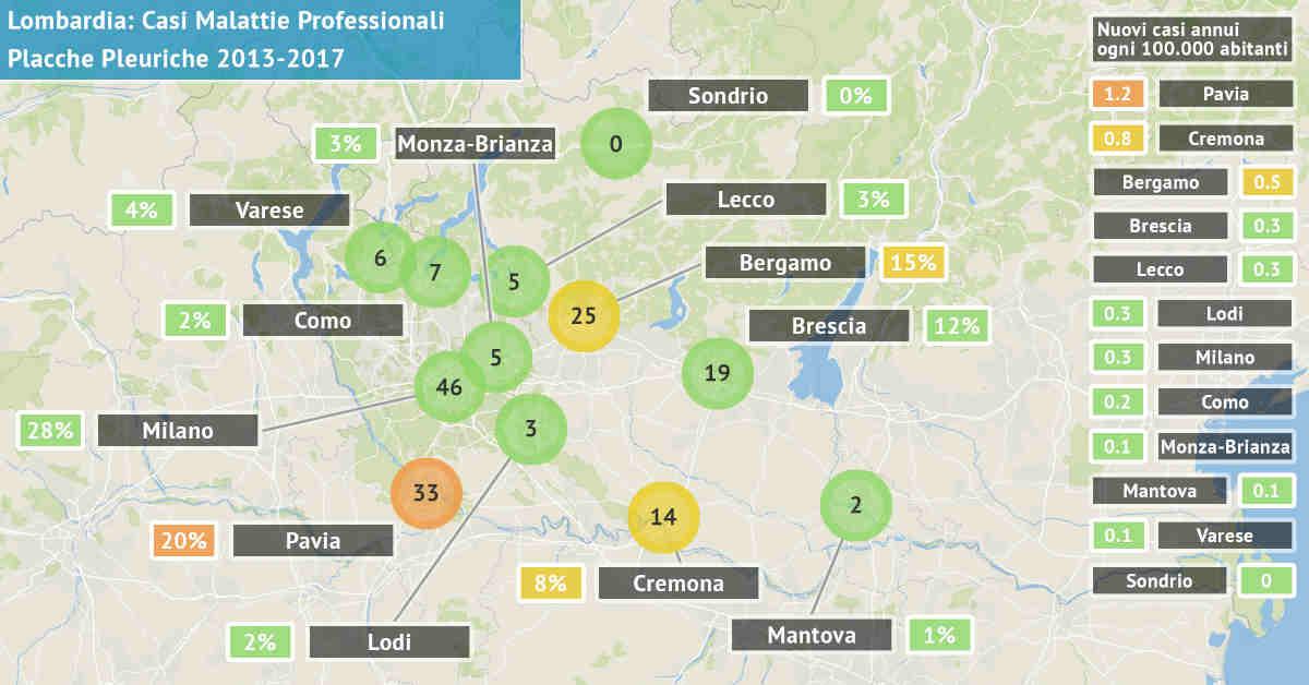 Mappa della Lombardia con il numero di casi di olacche pleuriche asbesto correlati di origine professionale dal 2013 al 2017 per provincia