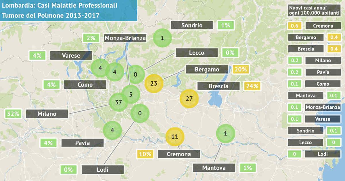 Mappa della Lombardia con il numero di casi di tumore del polmone asbesto correlati di origine professionale dal 2013 al 2017 per provincia