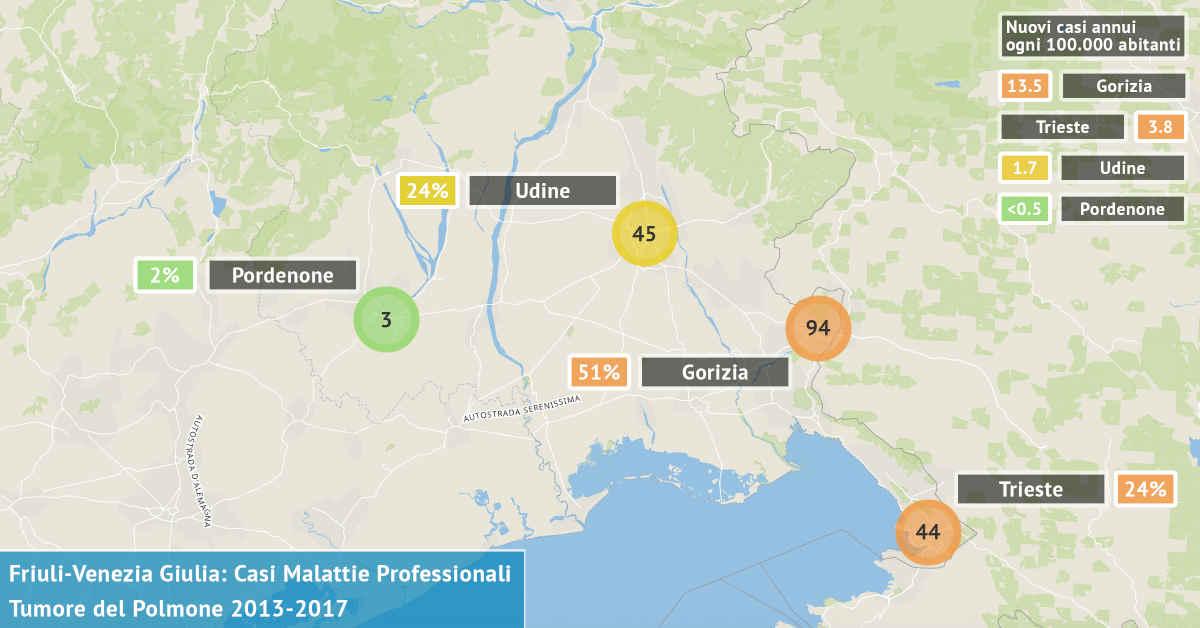 Mappa del Friuli-Venezia Giulia con il numero di casi di tumore dei bronchi e del polmone asbesto correlati di origine professionale dal 2013 al 2017 per provincia