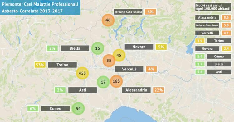 Mappa del Piemonte con il numero di malattie professionali asbesto correlate accertate dal 2013 al 2017 per provincia. Rilevazione del 31 ottobre 2018.