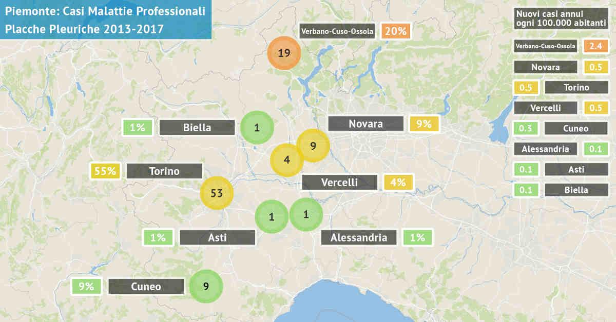 Mappa del Piemonte con il numero di casi di placche pleuriche asbesto correlate di origine professionale dal 2013 al 2017 per provincia