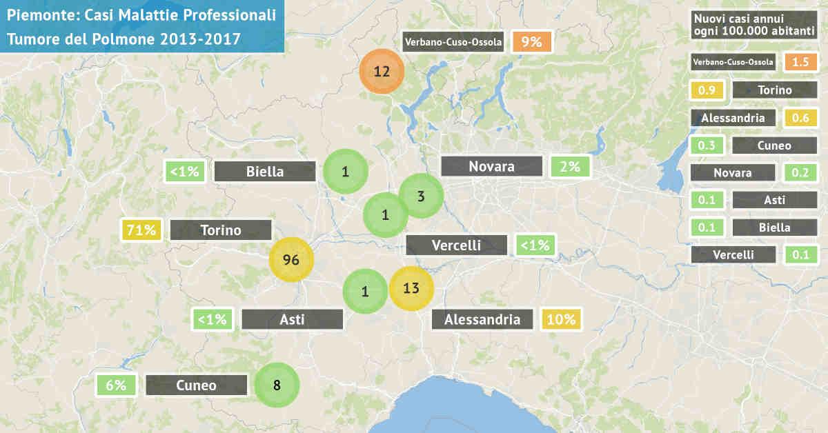 Mappa del Piemonte con il numero di casi di carcinoma polmonare asbesto correlati di origine professionale dal 2013 al 2017 per provincia