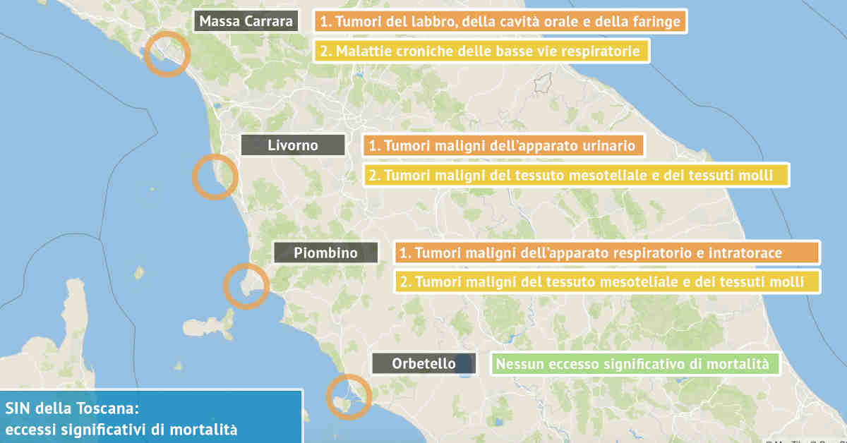 Infografica dei Siti di Interesse Nazionale della Toscana con indicati i due principali eccessi significativi di mortalità da sostanze nocive