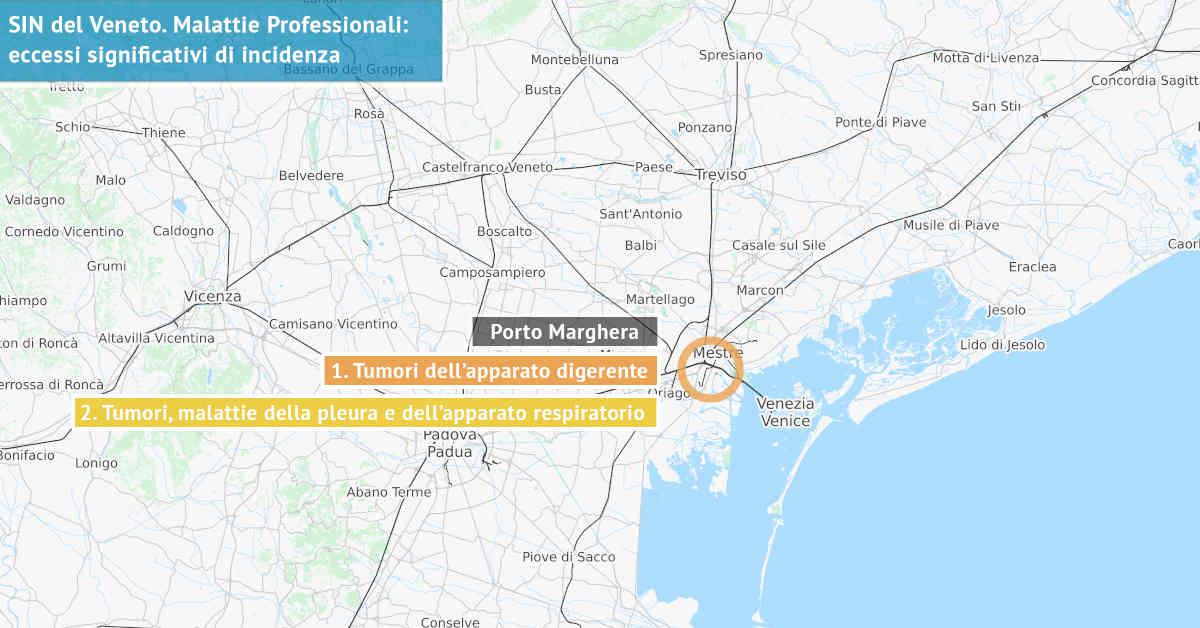 Infografica dei Siti di Interesse Nazionale del Veneto con indicati i due principali eccessi significativi di incidenza da sostanze nocive