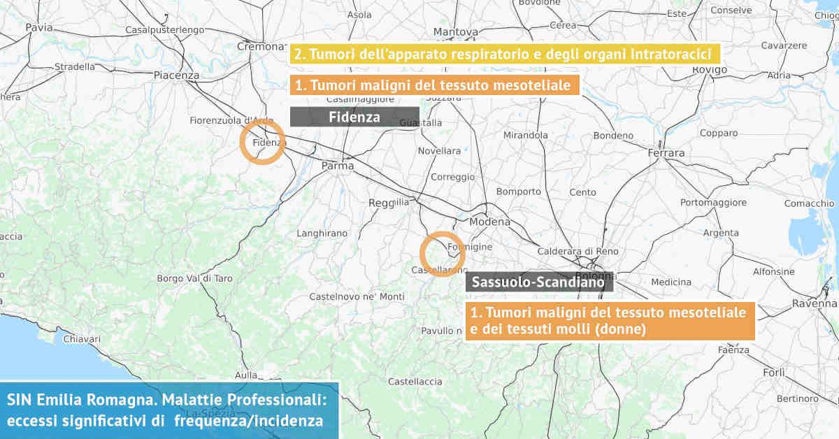 Infografica dei Siti di Interesse Nazionale dell'Emilia Romagna con indicati i due principali eccessi significativi di incidenza da probabile esposizione sostanze nocive
