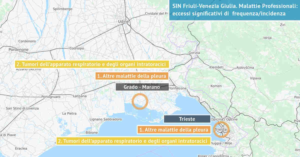 Infografica dei Siti di Interesse Nazionale del Friuli-Venezia Giulia con indicati i due principali eccessi significativi di incidenza da sostanze nocive