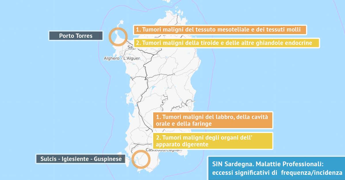 Infografica su della Mappa Sardegna. I Siti di Interesse Nazionale della Sardegna