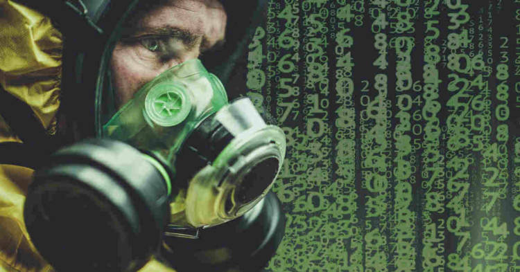 Uomo con mascherina e numeri sullo sfondo. Mesotelioma pericardico e della tunica vaginale del testicolo. I risultati di un recente studio epidemiologico