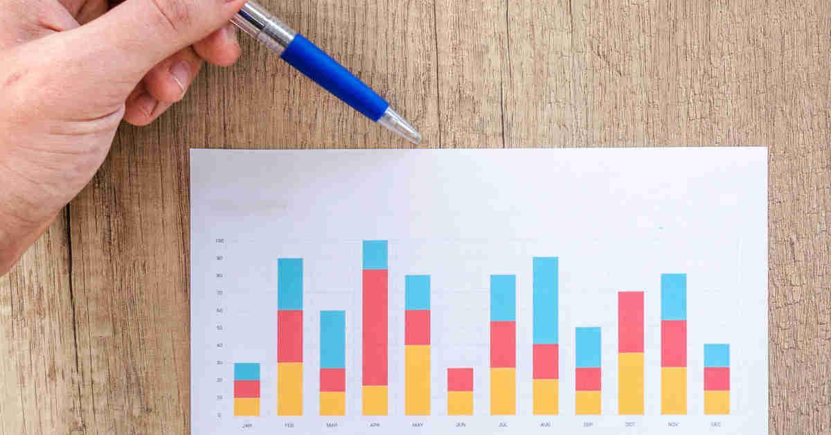 Mano con penna illustra dati su un grafico a barre